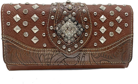 Montana West Tr-Fold Rhinestone Accent Wristlet Wallet (Brown)