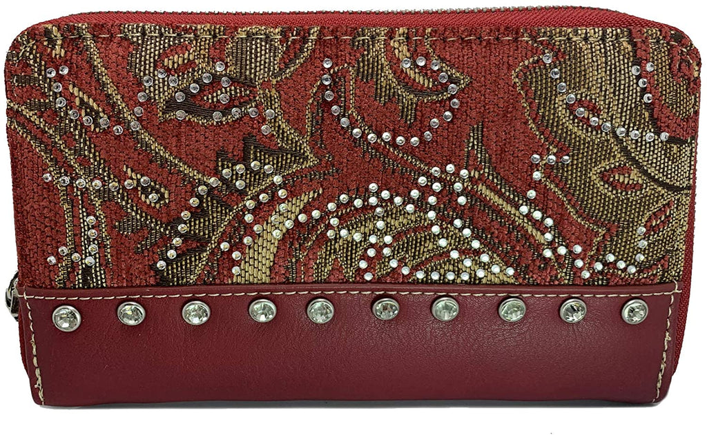 Montana West tapestry Wristlet Wallet w/Crystal Accents (Red)
