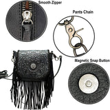 RLC-L097BK Montana West Real Leather Western Fringe Crossbody Small Purse For Women