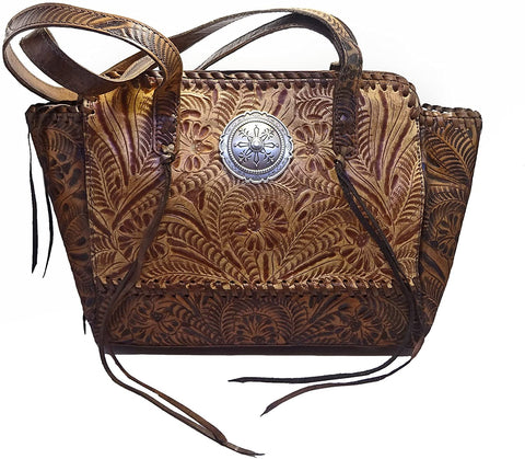 Dual Entry Concealed Carry, Hand-tooled Leather Zip-Top Tote- American West (Tan/Charcoal Brown)