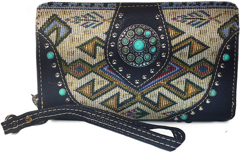 Montana West Wristlet Wallet Collections w/Studded Accents- (BLACK AZTEC)