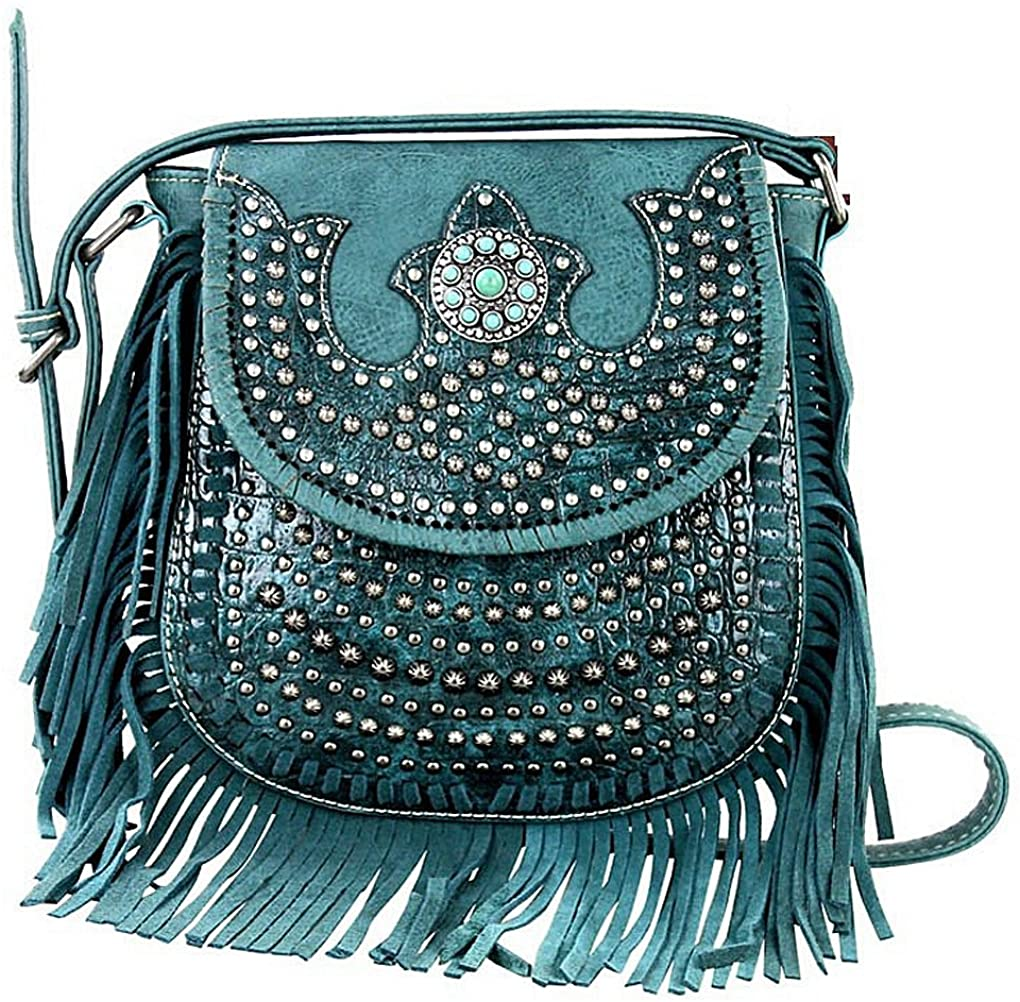 Montana West Croc & Fringe Accent Crossbody w/TQ Accent (Turquoise)