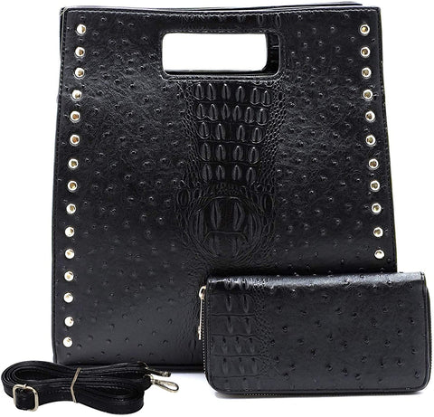 Le Miel Ostrich Embossed Top Handle Crossbody + Wallet (Black)