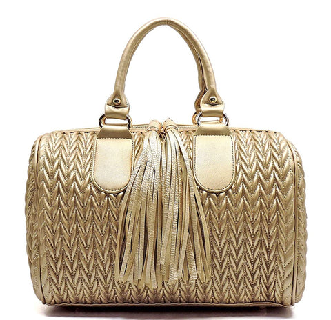 Handbag Republic Quilted/Braided Effect, Boston Satchel w/Fringe Pulls + Strap- Large+