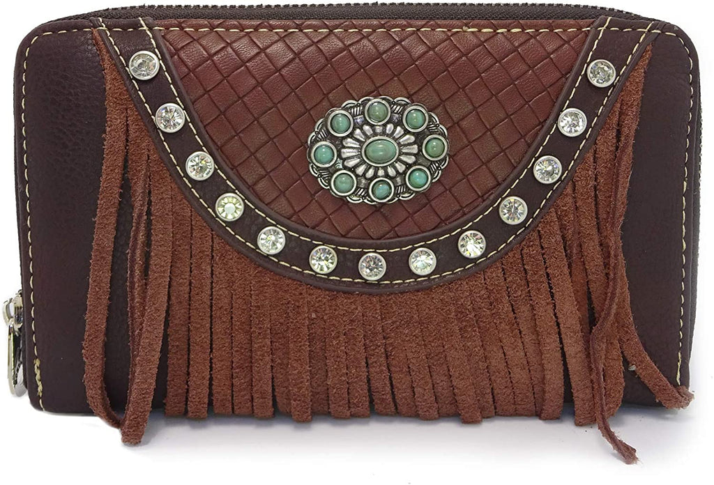 Montana West Fringe Wristlet Wallet w/TQ Accents (Coffee)