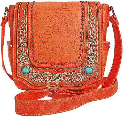 Montana West Concealed Carry Embroidered Small Crossbody- Coral