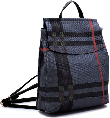 New Le Miel Simple Classic Plaid Convertible Backpack (Mt4/blue)
