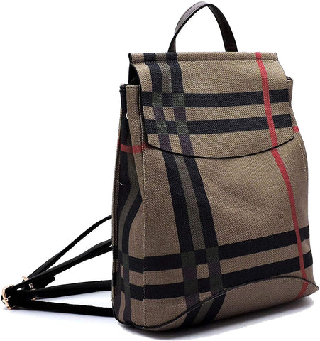 New Le Miel Simple Classic Plaid Convertible Backpack (Mt3/coffee)