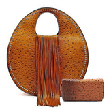 Handbag Republic Ostrich Embossed, Fringe Accent Round Satchel w/Strap + Wallet
