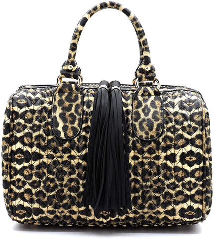 Handbag Republic Leopard Chevron Quilted Boston Bag + Strap