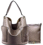 Handbag Republic Ostrich Side Pockets Tote w/Inner Bag Crossbody- Stone