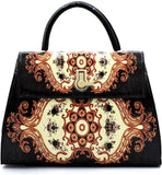 Handbag Republic Glossy Antique Flower Pattern Turn-Lock Satchel w/Strap + Wallet (Black)