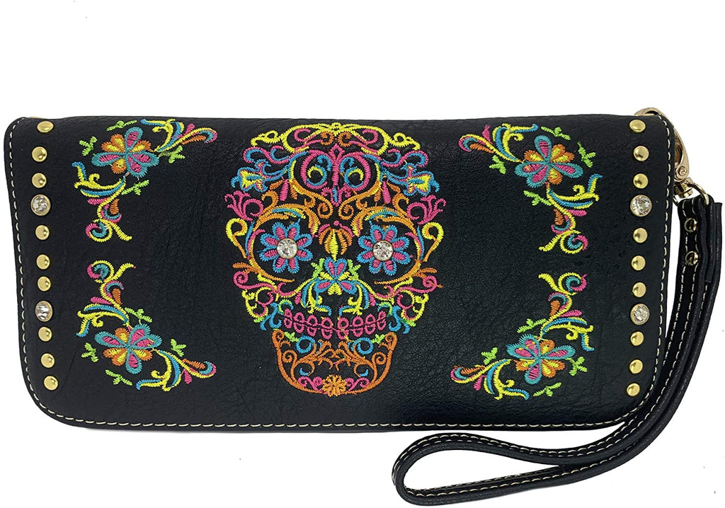 Montana West Embroidered Sugar Skull Large Wristlet Wallet w/charger