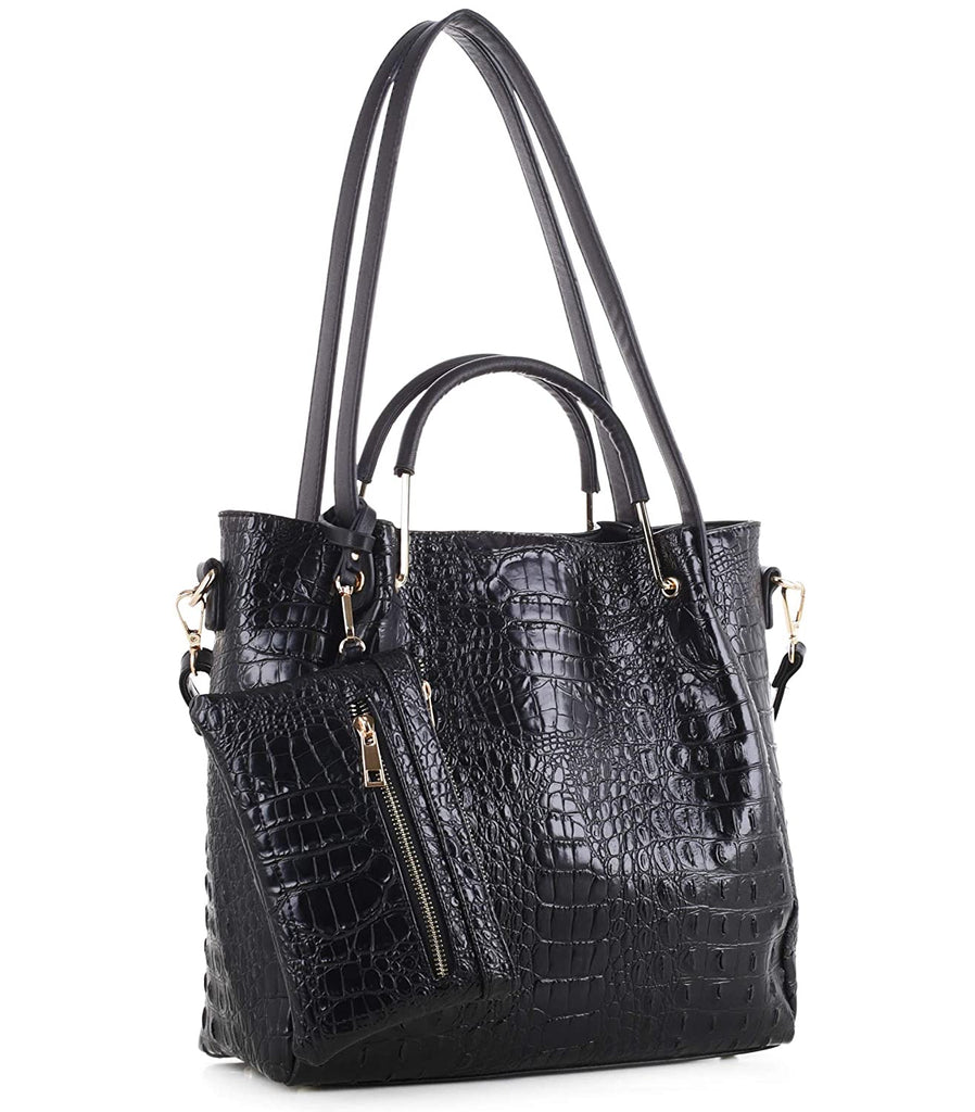 New! Ruby Fashions Croc Embossed Multi Strap Tote + Wristlet