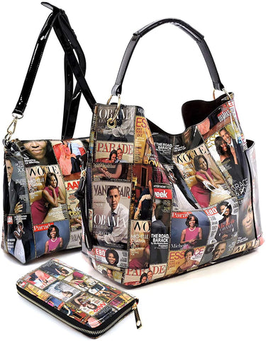 3pc Michelle Obama Print Set: Bucket Hobo, Pull-out Crossbody + Wallet (Multi)