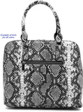 Handbag Republic Python Texture Print Dome Satchel w/Strap + Wallet (Gray/Black)