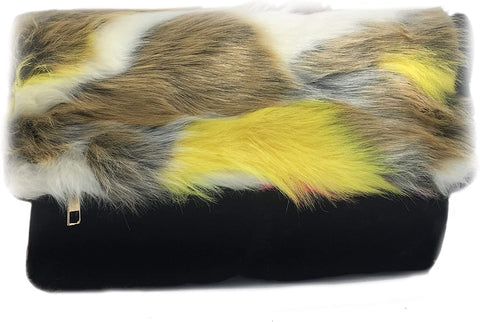 3am Forever Faux Fur Flap-over Clutch w/Strap in Colors (Multi 3)