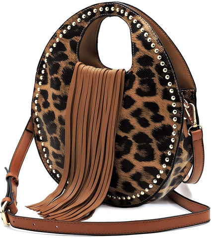 Handbag Republic Leopard Round Crossbody Satchel w/Fringe, Small