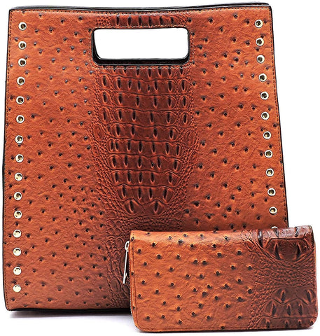 Le Miel Ostrich Embossed Boxy Tote w/Strap + Wallet- Brown