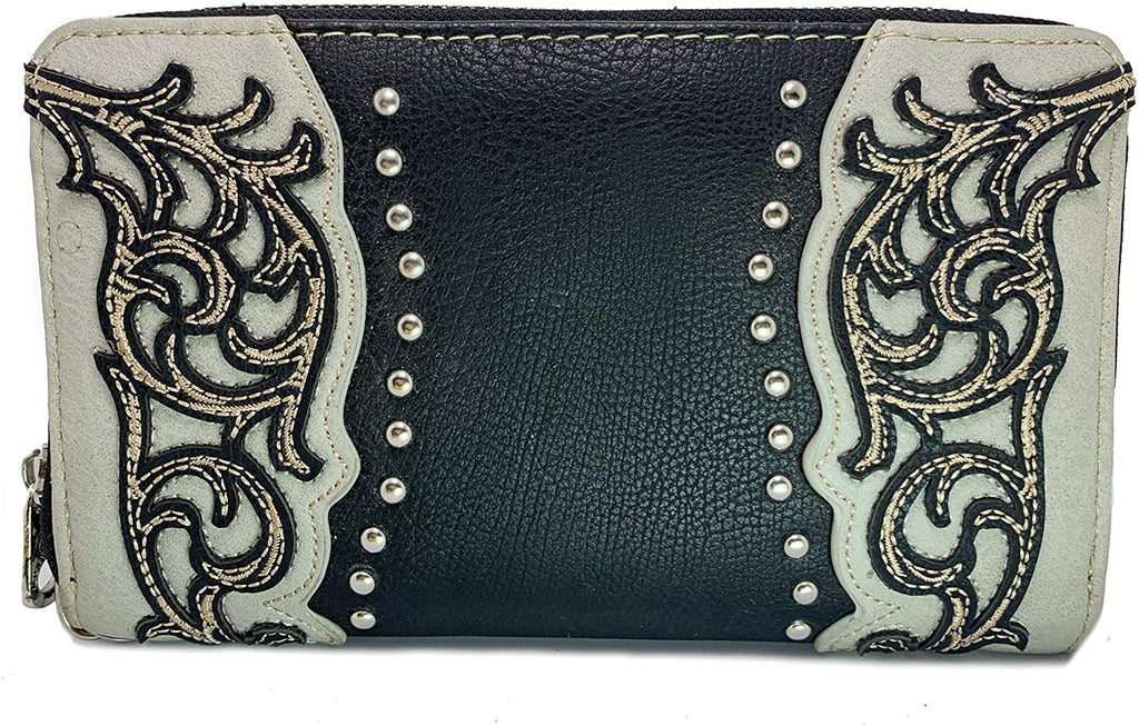 Montana West Wristlet Wallet Collections w/Studded Accents- (BLACK SCROLL)