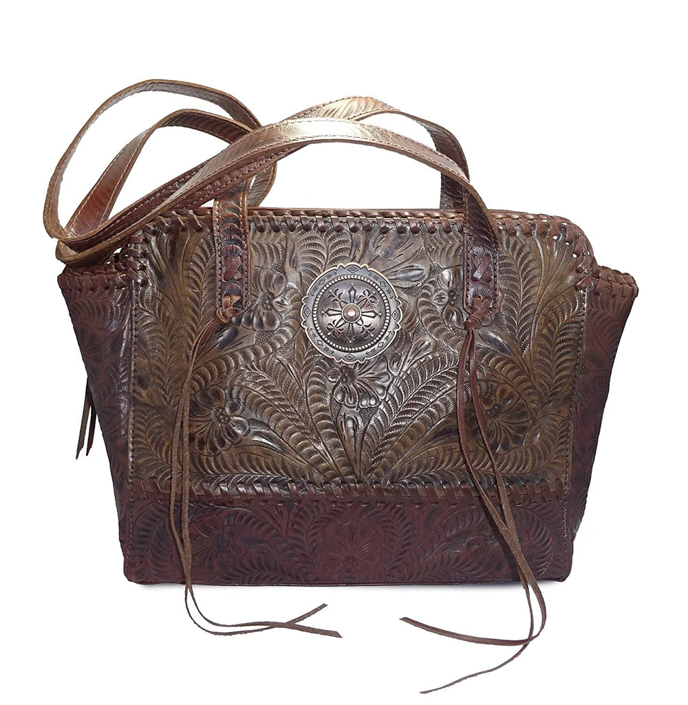 Dual Entry Concealed Carry, Hand-tooled Leather Zip-Top Tote- American West (Chestnut/Charcoal Brown)
