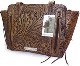 Dual Entry Concealed Carry, Hand-tooled Leather Zip-Top Tote- American West (TQ/Charcoal Brown)