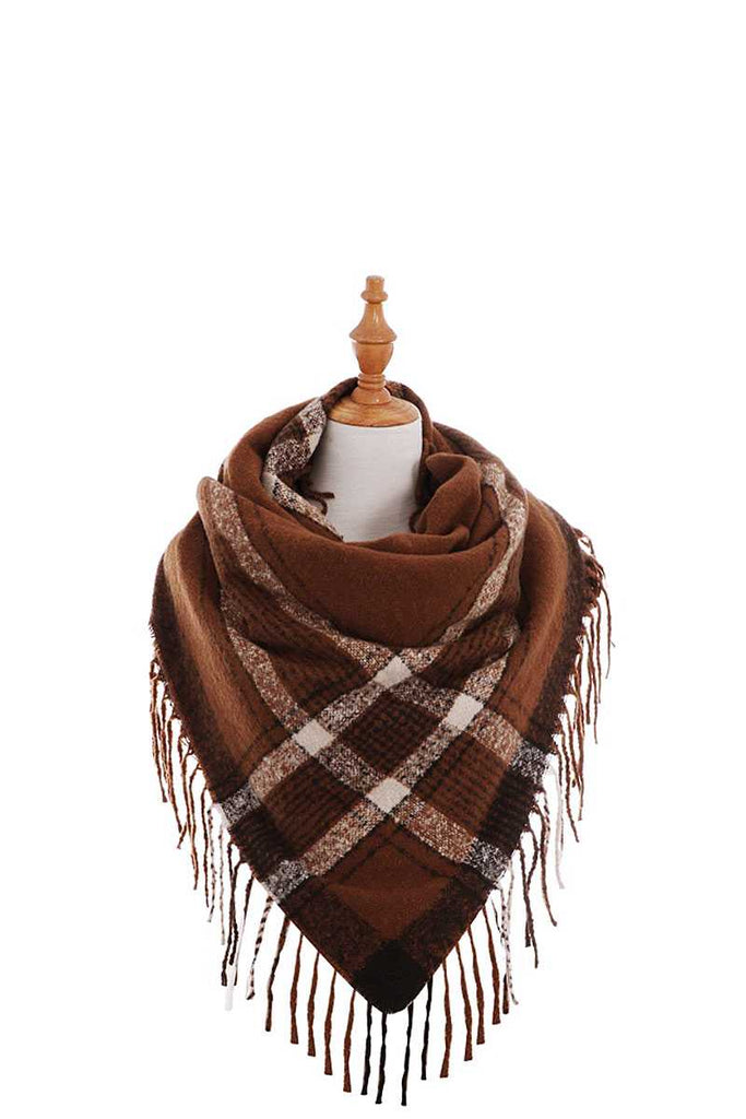 Trendy Color Block Check Square Scarf With Fringe