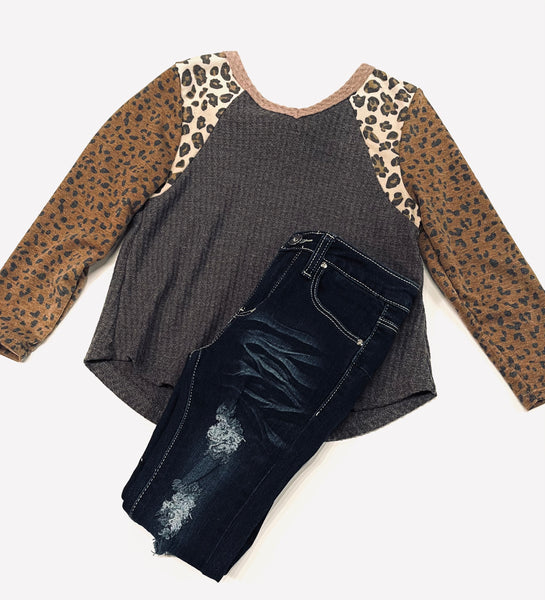 Charcoal/Leopard Waffle Top