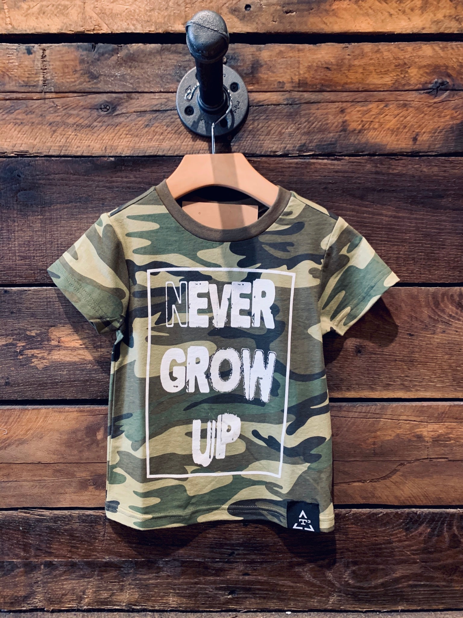 "Camo ""Never Grow Up"" Tee"