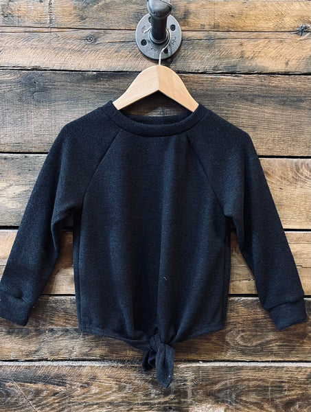 Black Front Tie Sweater