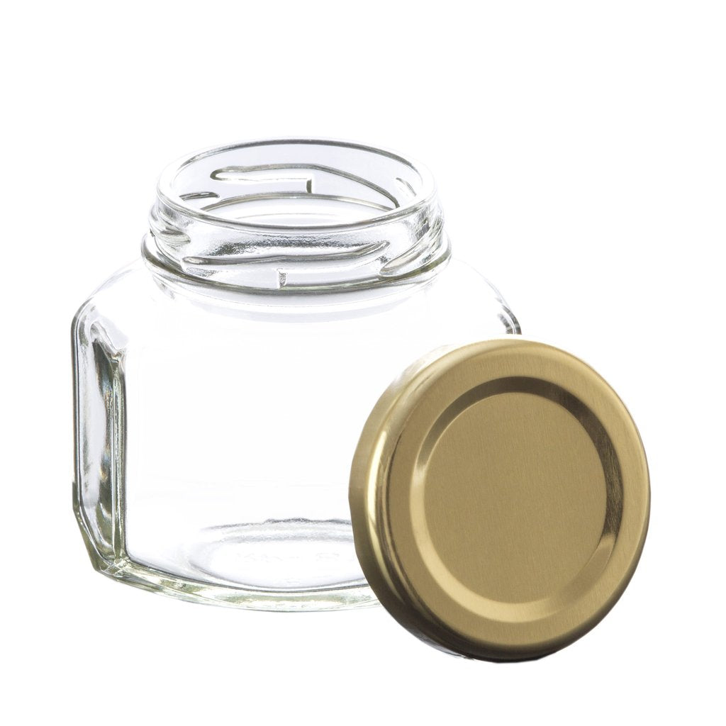 Oval Hexagone Glass Jar with Gold Lid