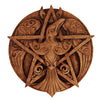 Raven Pentacle Wood Finish Wall Plaque