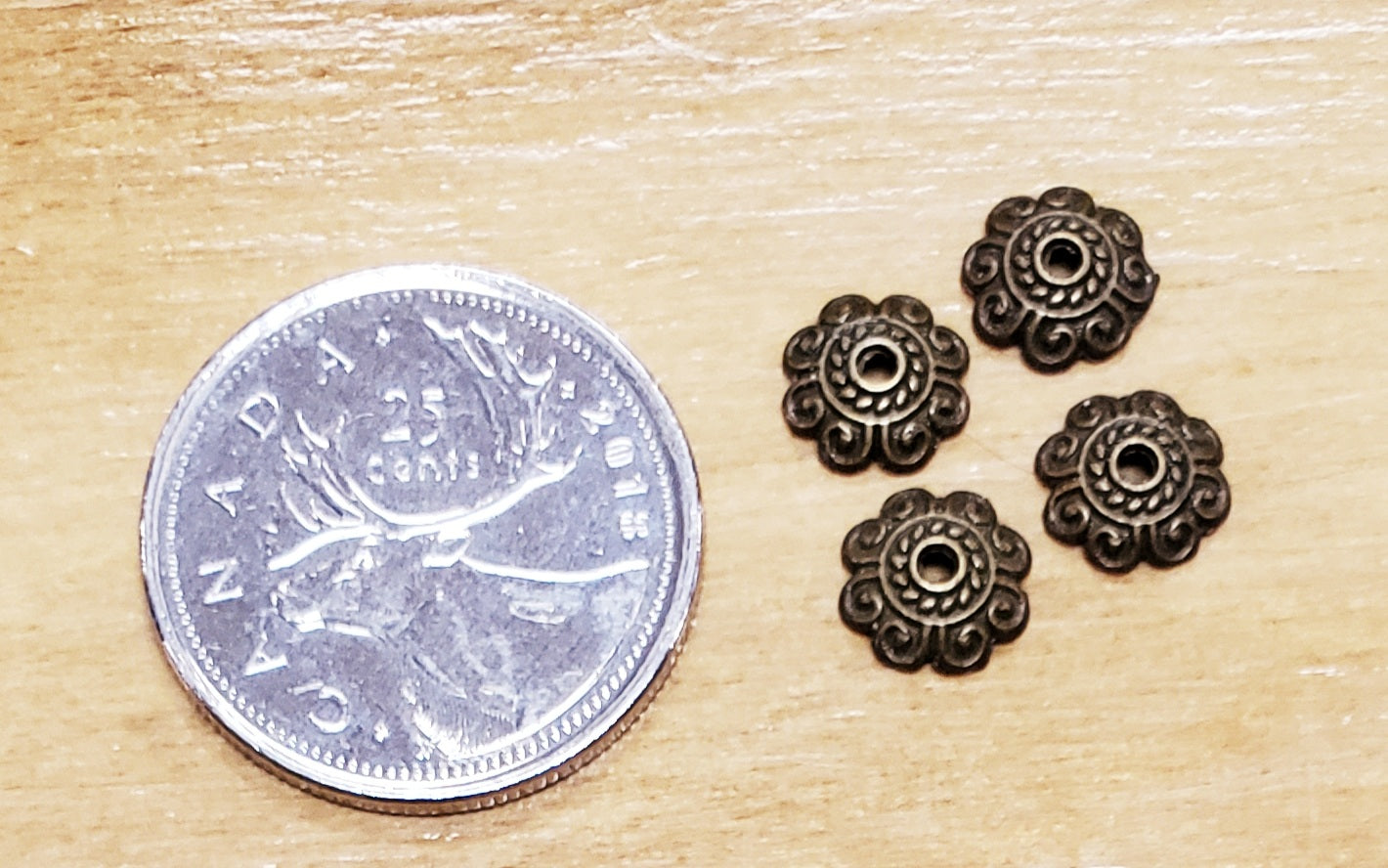 Antique Style Bronze Tone Bead Cap