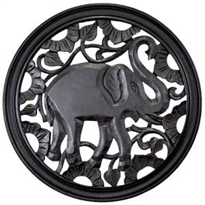 Trunk Up Elephant Wall Plaque