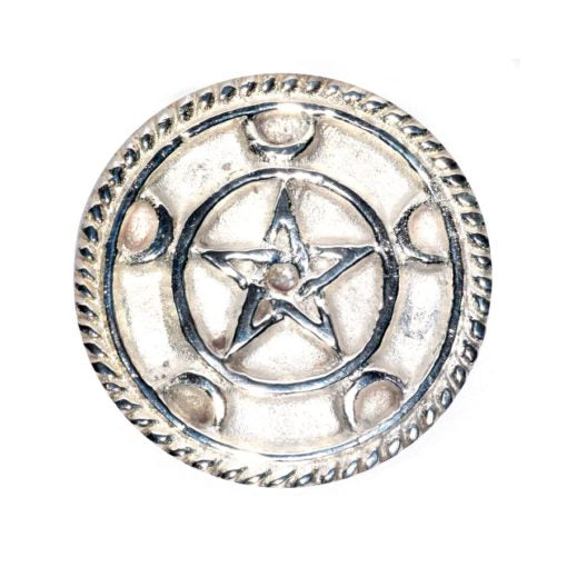 Pentacle Crescent Moon Altar Tile 3""