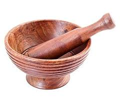 Wooden Ripple Mortar and Pestle 5""