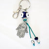 Evil Eye and Fatima Hand Glass Keychain 4""