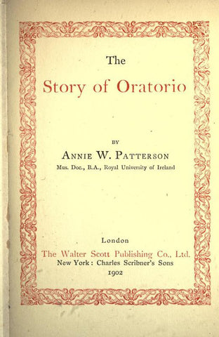 The Story Of Oratorio