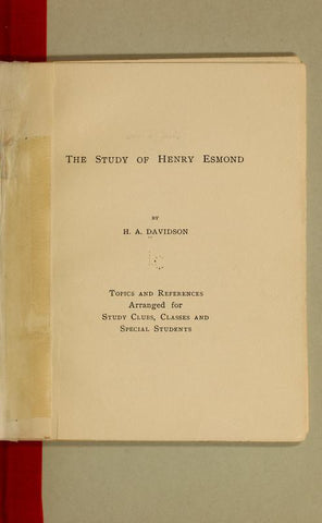 The Story Of Henry Esmond