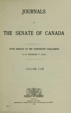 Journals Of The Senate Of Canada Volume 58