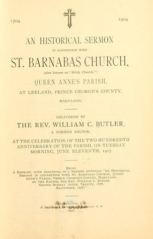 1704. 1904. An Historical Sermon In Connection With St. Barnabas Church, (Also Known As Brick Church,) Queen Anne's Parish - Repressed Publishing - 1