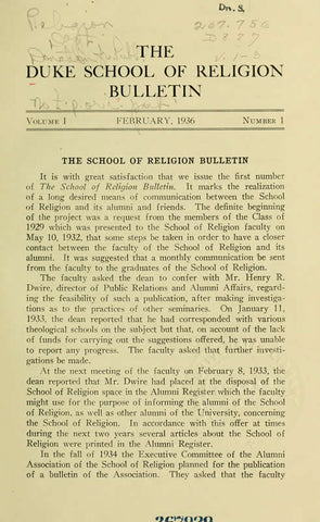 The Duke School Of Religion Bulletin Serial