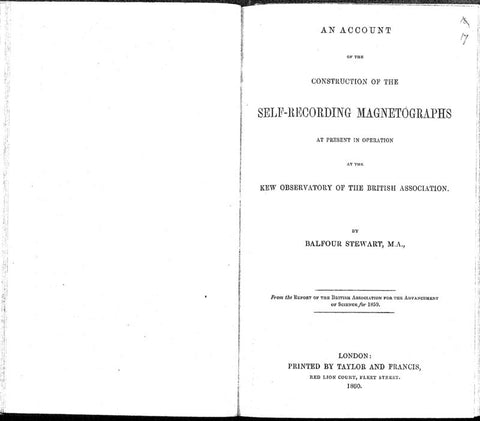 An Account Of The Construction Of The Self-Recording Magnetographs At Present In Operation At The Kew Observatory Of The British Association