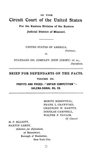 United States Of America, Petitioner, Vs. Standard Oil Company New Jersey Et Al., Defendants. Brief For Defendants On The Facts