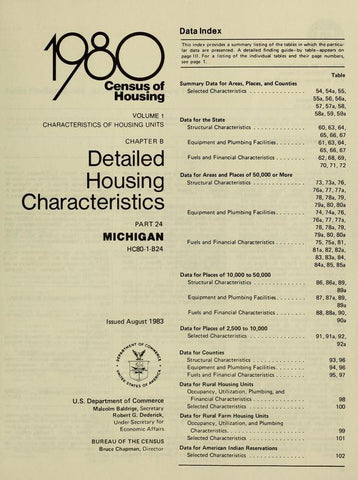 1980 Census Of Housing. Detailed Housing Characteristics. Michigan - Repressed Publishing - 1