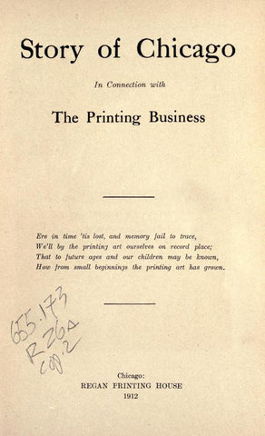 Story Of Chicago In Connection With The Printing Business