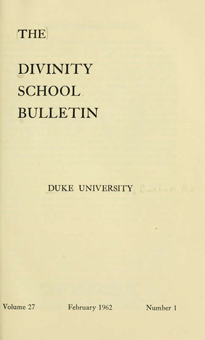 The Duke Divinity School Bulletin Serial