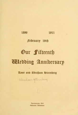 1896-1911, February 19th; Our Fifteenth Wedding Anniversary - Repressed Publishing - 1