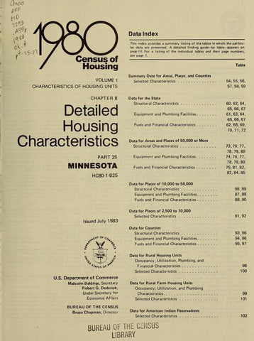1980 Census Of Housing. Detailed Housing Characteristics. Minnesota - Repressed Publishing - 1