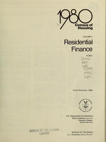 1980 Census Of Housing.  Volume 5, Residential Finance - Repressed Publishing - 1